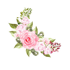 Watercolor wreath with roses and berries. Illustration