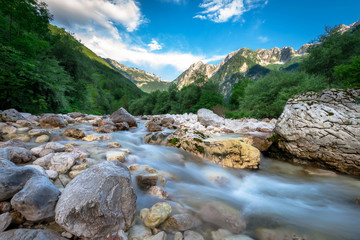 Printed kitchen splashbacks River Beautiful turquoise Soca river in the Triglav National Park