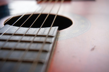 Close up image of an acoustic guitar