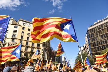 Independence manifestation in Barcelona, SI, September 11, 2017