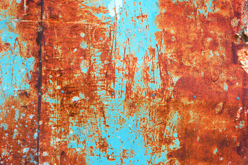 Wall Mural - Teal and orange grunge rusty metal surface texture