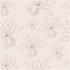 Seamless pattern with rododendron flowers and leaves. Vector