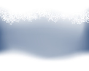 Winter background. Wave border made of fluffy snowflakes with space for text on soft blue background.