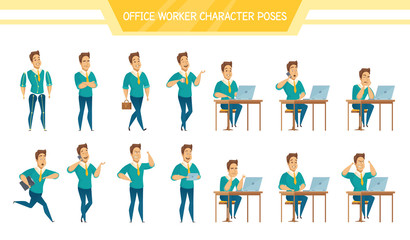 Office Worker Male  Poses Set
