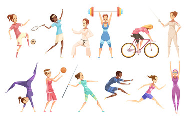 Female Athletes Doodle Collection
