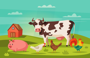 Farm animals and house. Village. Cartoon vector illustration