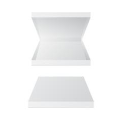 Empty pizza box isolated on white. Open carton box, closed white box