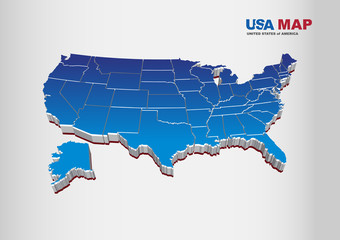 3D Vector Illustration of United States of Amerca / USA Map with Colors