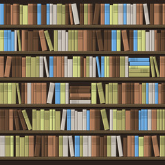 Library Book Shelf Seamless Background. Vector