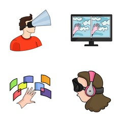 Hand, monitor, headphones, woman .Virtual reality set collection icons in cartoon style vector symbol stock illustration web.