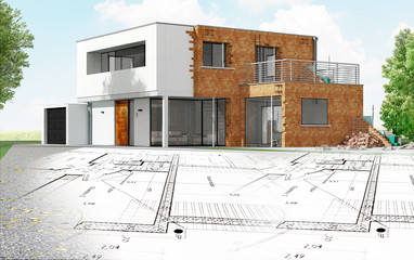 Plan et maison d'architecte en construction à toit plat
