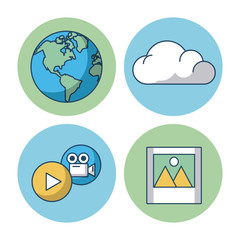 Cloud computing technology icon vector illustration graphic dsign