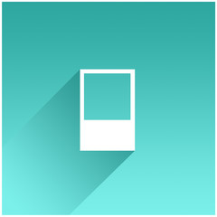 Blank white photo frame on colorful background