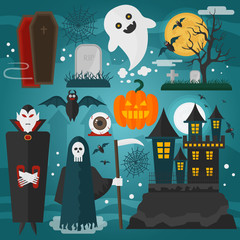 Vector illustration of vampire, castle, death, ghost and other horror different decorations and characters dedicated to Halloween.
