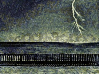 Thunderstorm in the sea. Powerful lightning in the sky. Watercolor and oil art painting on canvas. Very high resolution artwork.