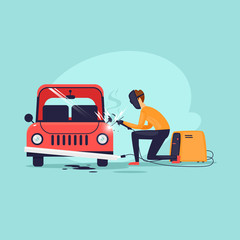 Welder, repair. Flat design vector illustration.