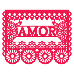 Mexican Papel Picado design - amor vector garland pattern for celebrating Valentine's Day, wedding or birthday