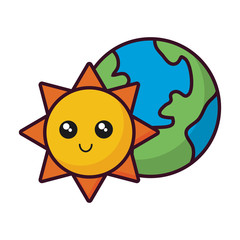 earth planet and sun icon