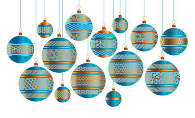 Blue and gold Christmas bauble decor stylized vector illustration. Xmas tree decoration balls with stripe, dots and snowflakes ornament