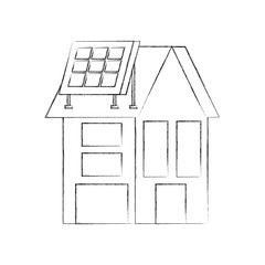 house with solar roof panel for real estate