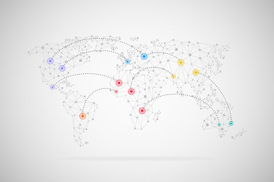 Vector world map connection background
