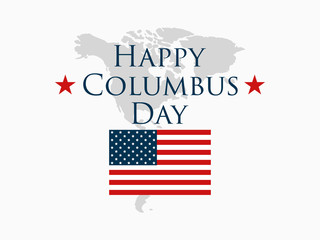 Columbus Day, the discoverer of America, usa flag and continent, holiday banner.  Vector illustration