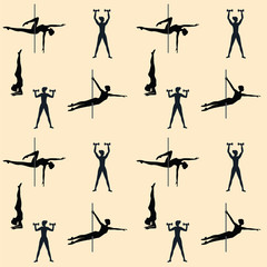 Sport pattern - woman - dance with pole, exercise with dumbbells, stand on head - art creative modern vector