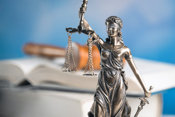 Law and Justice symbol. blue sky background