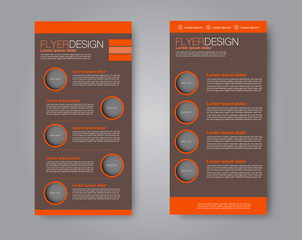 Skinny flyer or leaflet design. Set of two side brochure template or banner.  Vector illustration.