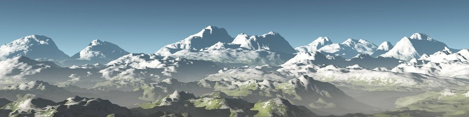 panorama of mountains, mountain landscape, snowy peaks, 3d rendering