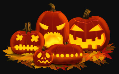 Vector illustration of orange glowing pumpkin lanterns for Halloween with carved faces placed on autumn leaves.