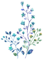 Watercolor flowers set. Hand drawn floral elements isolated on white background. Fantasy flowers, leaves and branch collection.