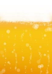 Beer background with realistic bubbles. Cool liquid drink for pub and bar menu design, banners and flyers. Yellow vertical beer background with white frothy foam. Cold glass of ale for brewery design.