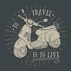 Scooter motorbike Vintage label, Hand drawn sketch, grunge textured retro badge, typography design t-shirt print, vector illustration
