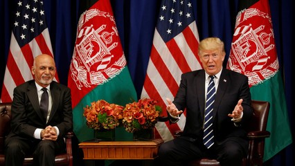 U.S. President Donald Trump meets with Afghan President Ashraf Ghani in New York