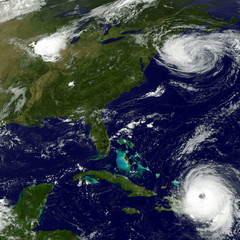 Hurricans Maria and Jose. Elements of this image are furnished by NASA