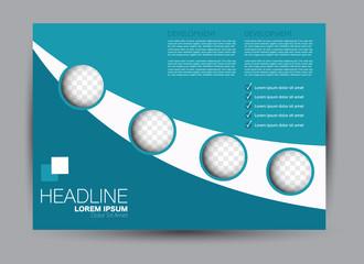 Flyer, brochure, billboard template design landscape orientation for education, presentation, website. Blue color. Editable vector illustration.