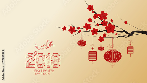 chinese new year 2018 with blossom wallpapers year of the dog