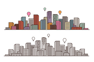 Modern city, view. Cityscape, urban landscape, construction concept. Vector illustration