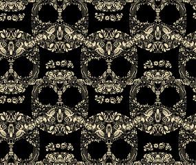 Floral human skull seamless pattern vector