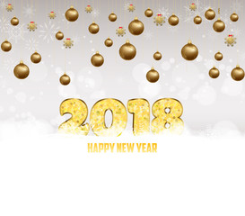 Happy new year 2018 gold glitter type background with gold balls