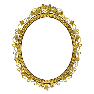 Decorative frame of golden color of an oval form