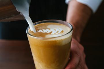 Latte Art. Barista coffee cup