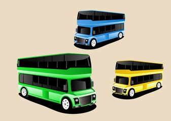 Vector buses 3d style, colored, set. Green, yellow, green colors