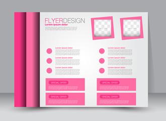 Flyer, brochure, billboard template design landscape orientation for education, presentation, website. Pink color. Editable vector illustration.