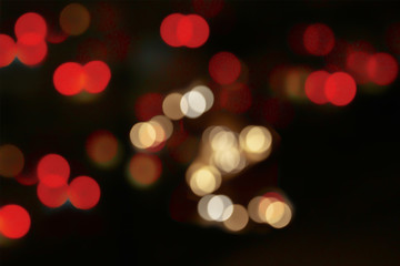 Beautiful soft blur and colorful Bokeh lights on Christmas and New Year night atmosphere background.