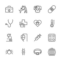 vet clinic, Simple thin line veterinary medicine icons set. Vector icon design