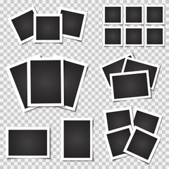 Collection of blank photo frames with shadow. Different sizes