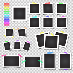 Collection of blank photo frames with shadow. Big set. Different colorful tapes