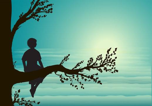 boy sitting on big tree branch, silhouette, secret place, childhood memory, dream,